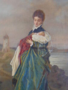 Most Adorable Antique Victorian Oil on Canvas Woman Holding Baby Harbor Scene