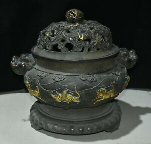 16 Old Chinese Purple Bronze Gold Beast Dragon Lion Head Incense Burner Censer