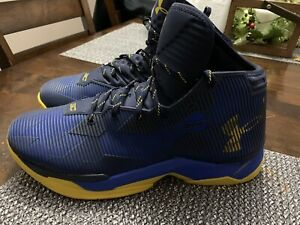 Under Armour Steph Curry 2.5 Size 13 Blue Yellow Basketball Shoes 1274425-400