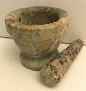 Vintage Marble Mortar & Pestle Apothecary Pharmacy Herb Spice Rx Grinder