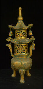 27 Old China Dynasty Bronzeware Dragon Beast Head Pagoda Incense Burner Censer