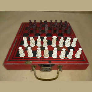 Wooden Antique Chinese Chess Carved Warrior Collectible Set Folding Board Game $43.99