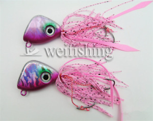 5Pcs Lead Head Lures Squid Skirt Octopus Jigs Snapper Assist Fishing Lures Hook