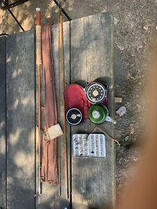 Vintage Fly Zurich Fisherei  Reel & Rod Set With Handmade Lures & Cases