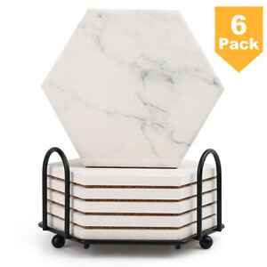 6PCS Hexago Coasters for Drinks Absorbent w Holder Non Slip Marble Pattern NEW
