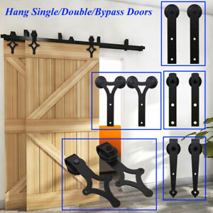 4 20FT Sliding Barn Door Hardware Closet Track Kit Single Double Bypass 2 Doors
