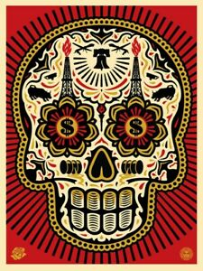 POWER & GLORY DAY OF THE DEAD SKULL (RED) : SIGNED PRINT : OBEY :SHEPARD FAIREY