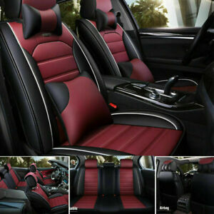 US Car Seat Cover ProtectorCushion Frontamp;Rear Full Set Top PU Leather Interior