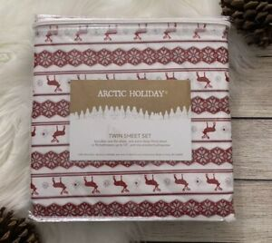 NEW Arctic Holiday Nordic Snowflakes TWIN Sheet Set 3 Pc Bedding Microfiber