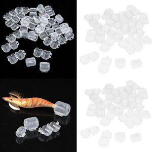 60x Clear Plastic Fishing Jigs Lure Covers Squid Octopus Hook Safety Caps