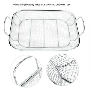 Stainless Steel BBQ Barbecue Mesh Basket Food Tray Non stick Camping Grill Rack