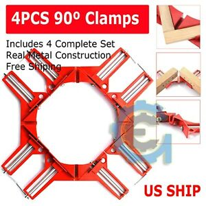 4X Metal Set DIY 90° Right Angle Clip Clamps Corner Holder Woodworking Hand Tool $17.95