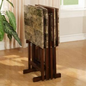 TV Dinner Tray Set Of 4 Faux Marble With Stand Wood Folding Living Room Table $76.79