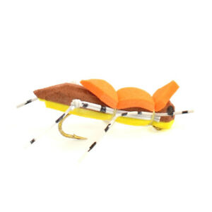 Morrish Hopper Yellow Tan Foam Body Grasshopper Fly Fishing Fly Hook Size 10