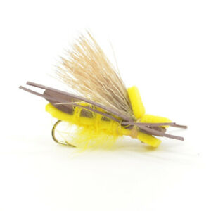Yellow Godzilla Indicator Foam Body Grasshopper Fly Fishing Fly Hook Size 10