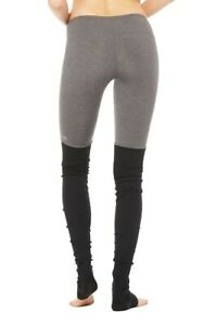 Alo Yoga Goddess Ribbed Legging in Black/Stormy Heather Size XS