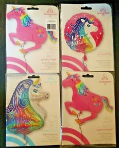 4 Colourful Rainbow Unicorn Head And Horn 30quot; 39quot; 17quot; Foil SuperShape Balloon