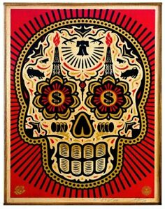POWER AND GLORY SKULL : FINE ART SCREEN PRINT ON WOOD : OBEY : SHEPARD FAIREY
