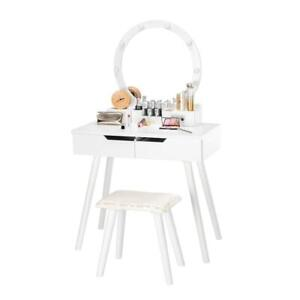 Makeup Table Vanity Set Round Mirror with Hollywood 8 Led Lighted Wood Desk