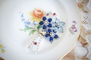 Vintage 40s Pennino Blue Crystal Flower Brooch Pin