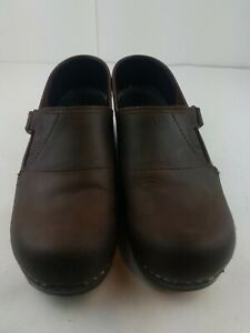 Dansko Brown Oiled Leather Nursing Occupational Stapled Clogs Comfort Shoes 39