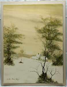 Bernard Charoy Limited Edition Signed Numbered Lithograph Print Winter Landscape