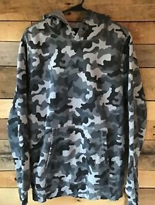 Under Armour Boys Size Large gray black camo hoodie sweatshirt no drawstring $14.50