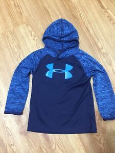 UNDER ARMOUR Hoodie Blue Design Sleeves Hooded Shirt Boys Size 4 Big Logo $12.00