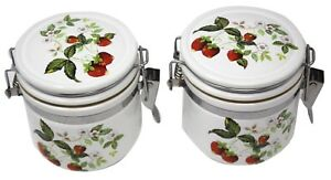 2 Piece Canister Set w/ Hinge Lid Sealer Container Storage STRAWBERRIES Jar 4