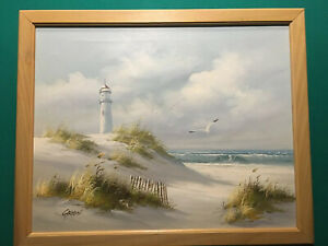 Seascape Original Painting Oil on Canvas by Carson Winter Lighthouse Sea Grass $34.99