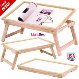 Foldable Table Breakfast In Bed Food Serving Tray Wooden Stand Laptop Tablets