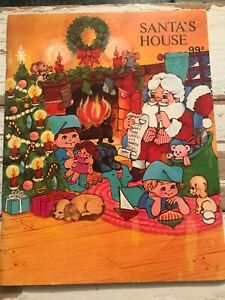 Santa's House Holiday Coloring Book Landoll New 80s Santa Craft Vintage 1986 E2