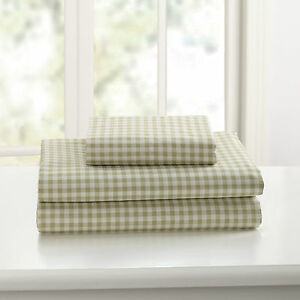 Mary Jane's Home Gingham Sage Green Cotton 3-PC King Flat Sheet and Pillowcases