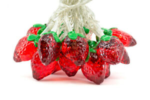 8-Foot 20 Lights Strawberry Battery Operated Ultra Plus LED Novelty Light String