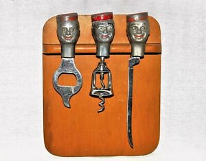 1950s Bellboy Trio Barware Set with Cutting Board, Collectible Corkscrew