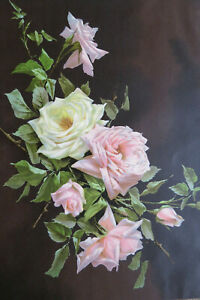 ANTIQUE ROSES CHROMOLITHOGRAPH - The Lamaroue Therese Levet $49.99