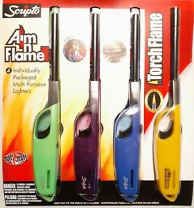 3 Scripto AIM 'N Flame Camping Multi-Purpose Lighter And 1 Torch Flame 4 Total