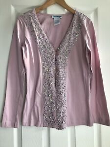 Women#x27;s Small Pink Cotton Top with sequins