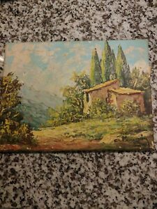 Antique oil painting on cavas landscape with cabin cannot read artist name.