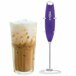Electric Milk Frother for Drink Mixer, with a Stainless Steel Stand, Purple