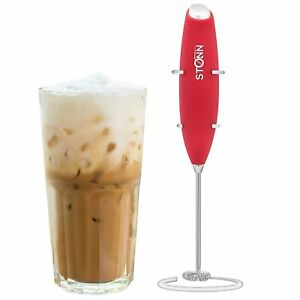 Electric Milk Frother Handheld for Drink Mixer, With Stainless Steel Stand, RED