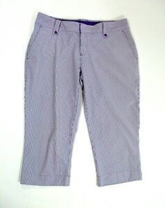 Under Armour Performance Cropped Purple White Striped Golf Capri Pants Size 6 $25.63