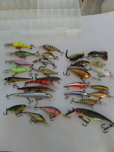 Mixed Fishing Lures Lot of 27 Rapala Storm Rebel Berkely Flicker Shads in PLANO