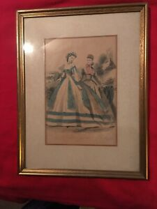 "Beautiful 19th Century Lithograph With Antique Frame & Matting. 13x10"" $14.99"