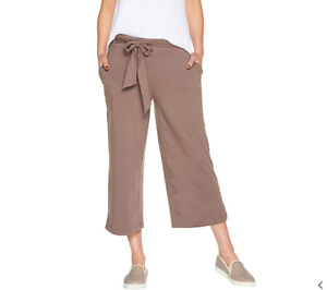 AnyBody Cozy Knit Wide Leg Cropped Pants Smokey Taupe XX Small A302402