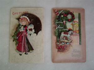 2 VICTORIAN CHRISTMAS HOLIDAY GREETINGS 3D Metal Wall Plaques~5.5 x9~Boehm Homco