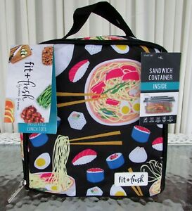 Fit & Fresh Insulated Lunch Bag Ramen Sushi print with Container NWT