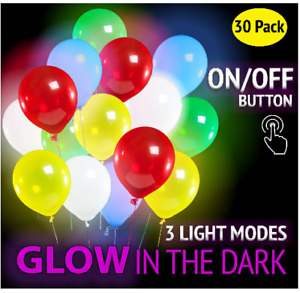 Bright LED light balloons Power button off 3 flashing modes Package of 30 units