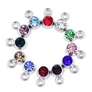 12Pcs Pendant Crystal Birthstone Cz Rhinestones Charms Birthday Jewelry Finding $1.99