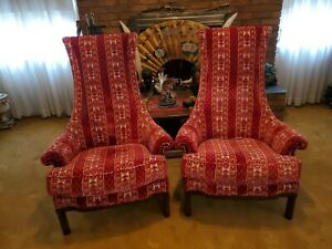 Vintage Tomlinson High Back Chair King Back Throne Chairs Lot of 2 Red Felt